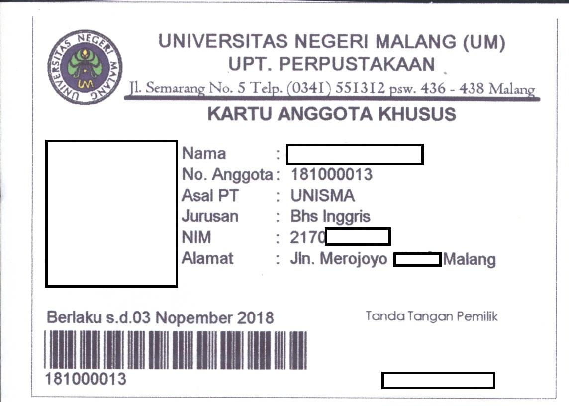 Informasi Kartu Anggota Khusus Upt Perpustakaan Universitas Negeri Malang