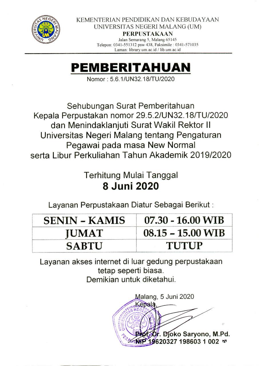 Jam Layanan Perpustakaan Um Terhitung Mulai 8 Juni 2020 Upt Perpustakaan Universitas Negeri Malang